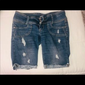 Jean biker shorts